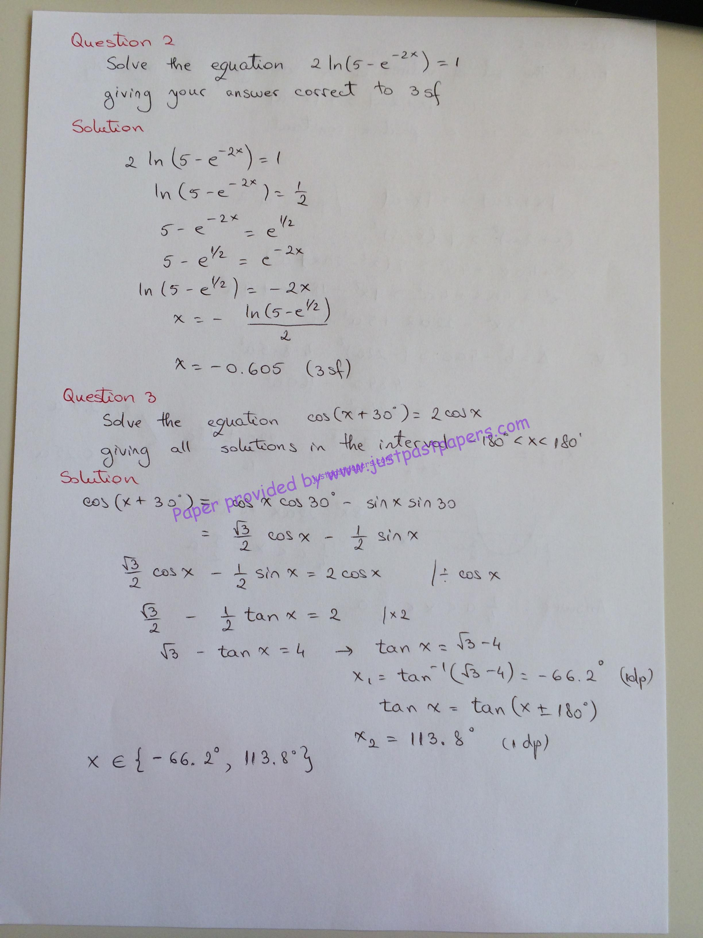 CIE 9709, A Level, Paper 32, May/June 2014 – Pure Mathematics 2&3
