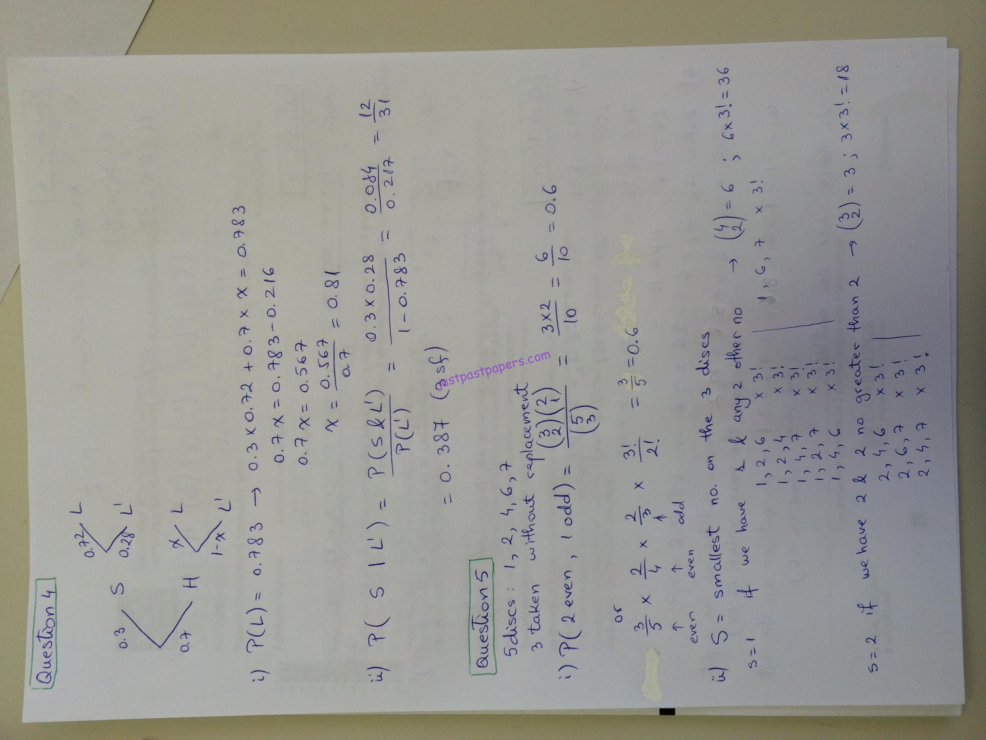 CIE 9709, A Level, Paper 62, May/June 2015 – Statistics 1