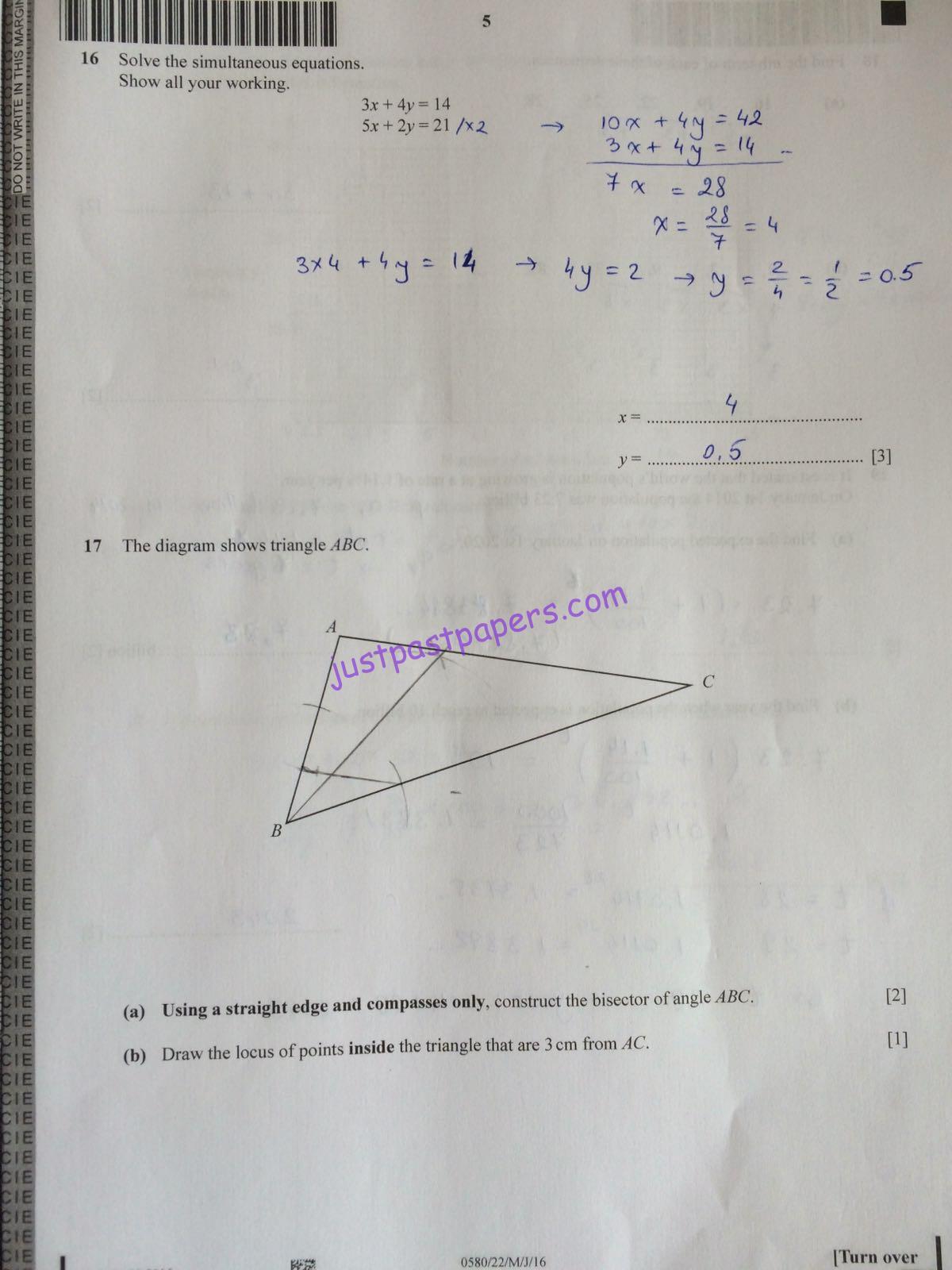 igcse mathematics past papers 2010