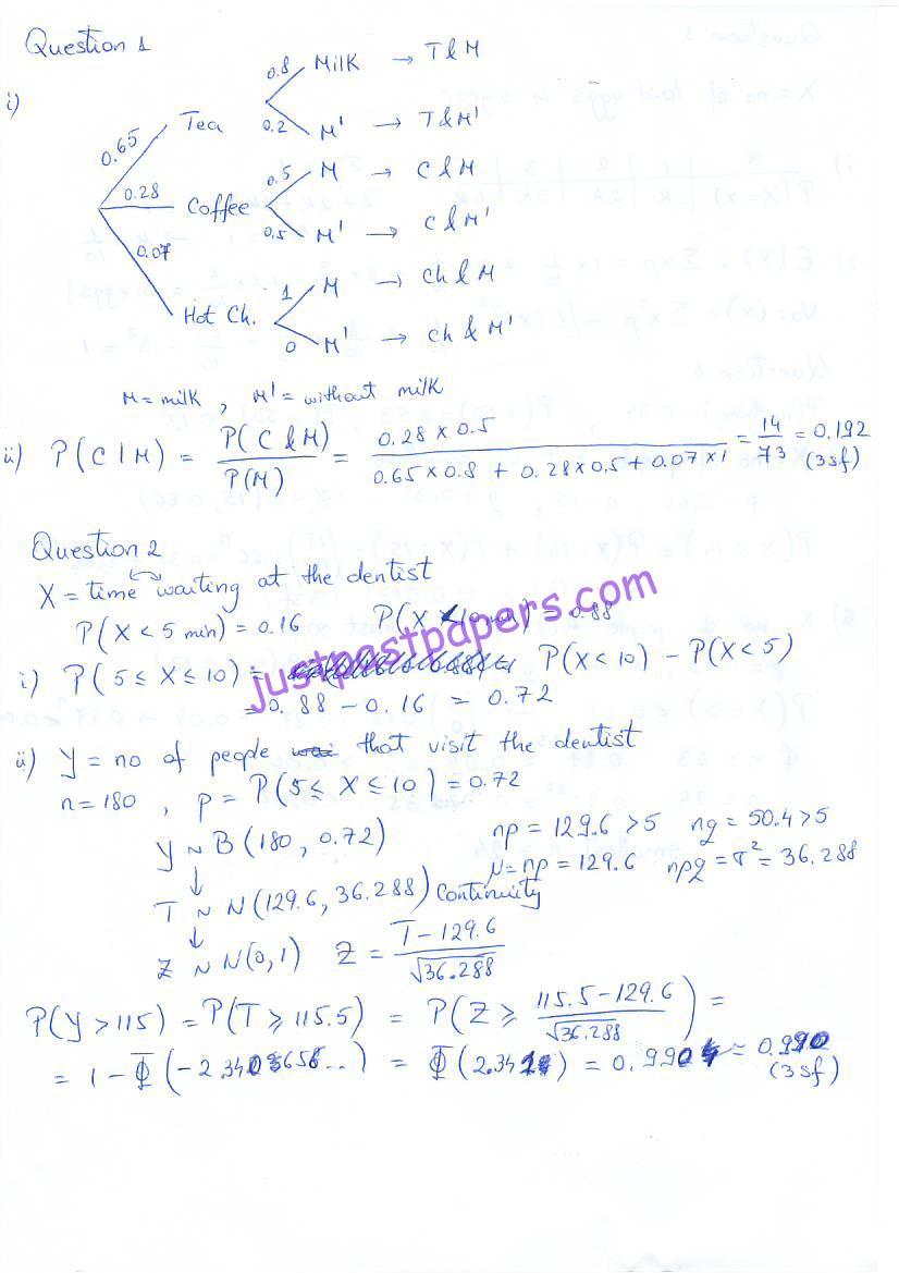 CIE – 9709 MATHEMATICS, Statistics 1, AS LEVEL, PAPER 62