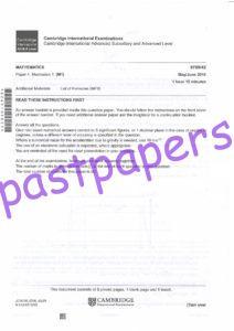 CIE – 9709 MATHEMATICS, Mechanics 1, A LEVEL, PAPER 4, MAY/JUNE 2016 – QUESTION PAPER