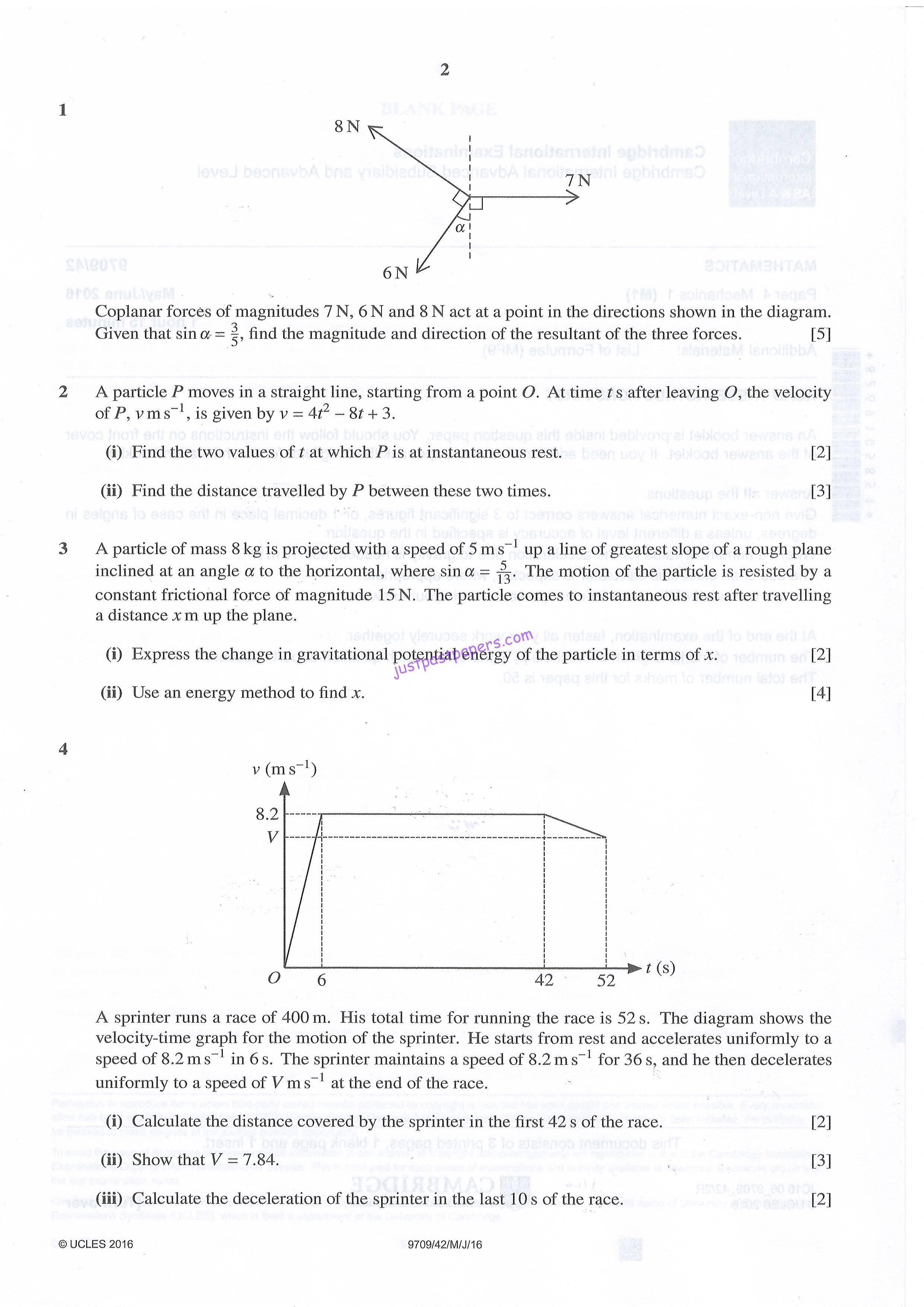CIE – 9709 MATHEMATICS, Mechanics 1, A LEVEL, PAPER 4, MAY